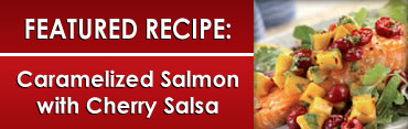 Caramelilzed Salmon with Cherry Salsa